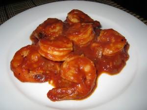 camarones con salsa de tomte