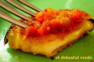 berenjenas rebozadas pimientos tomate