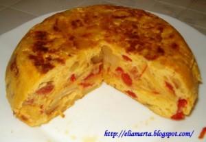 tortilla de chorizo y pimientos