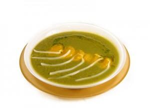 crema de espinacas con soja y mandarina