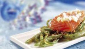 Ceviche de salmón con judias verdes