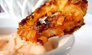 aros de cebolla horneados con mayonesa picante