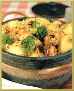 pulpo con brócoli al azafrán