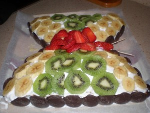 Tarta de mariposa con frutas