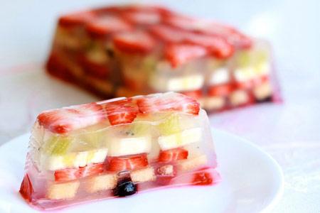 pastel de gelatina frutas