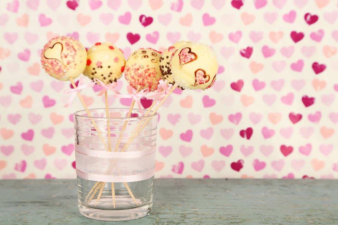 Cake Pops para San Valentin - chocolate blanco