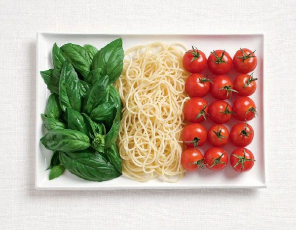 italy flag made from food