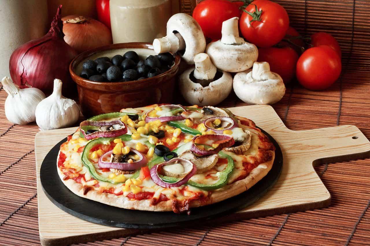 pizza completa de verduras