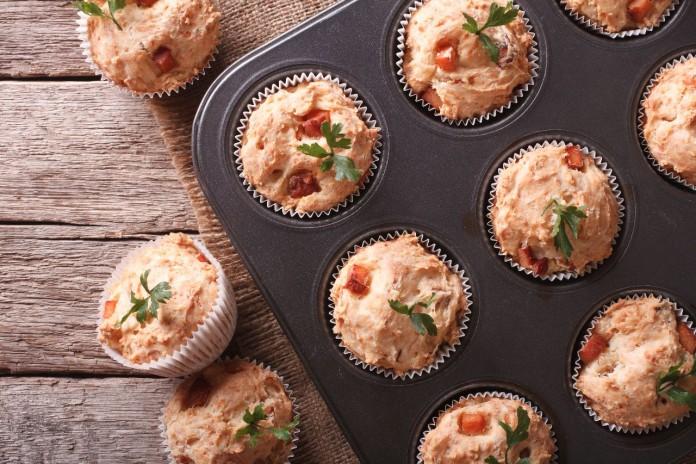 muffins de jamon y queso
