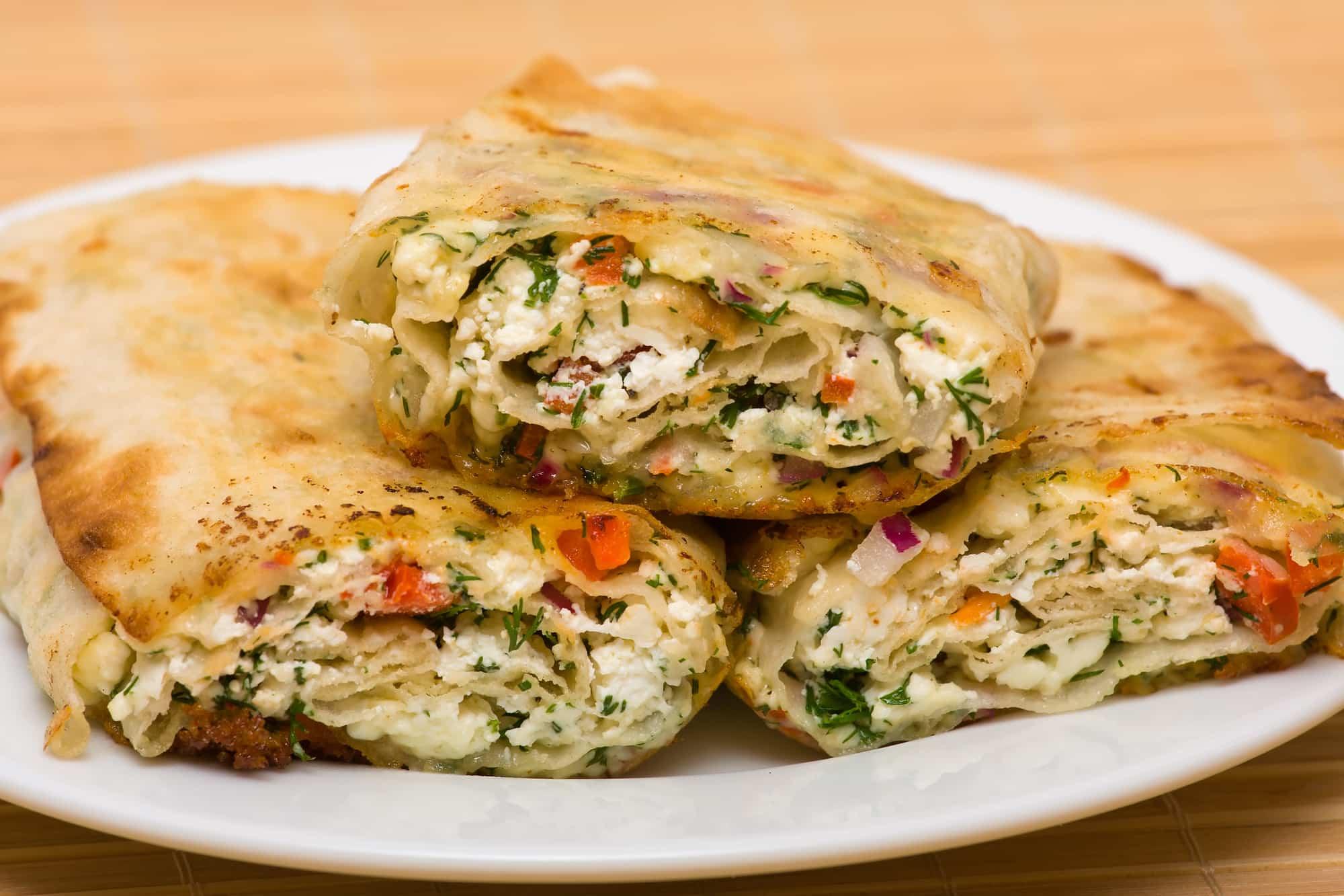 wrap con queso y verduras