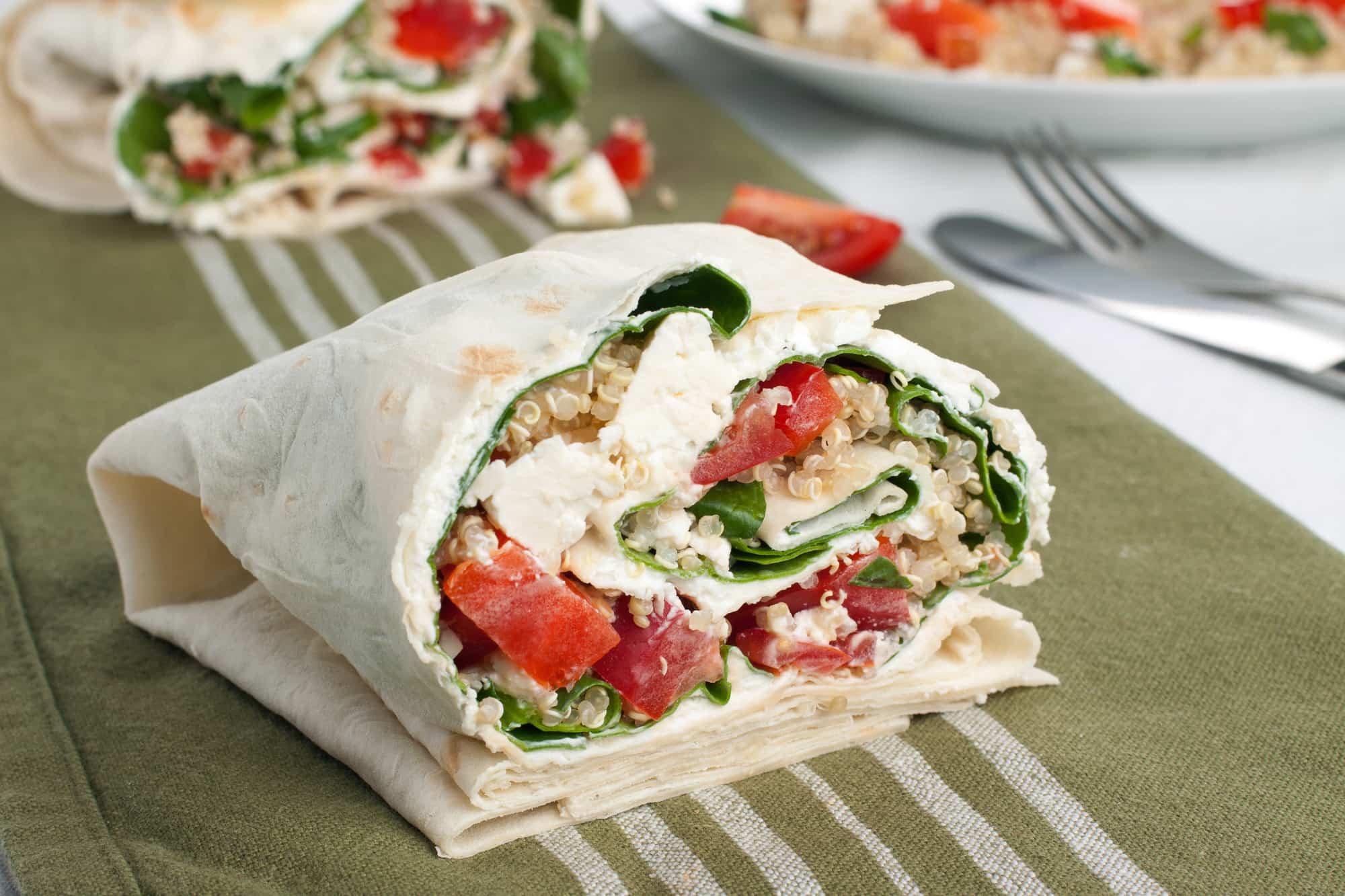 wrap queso feta y verduras