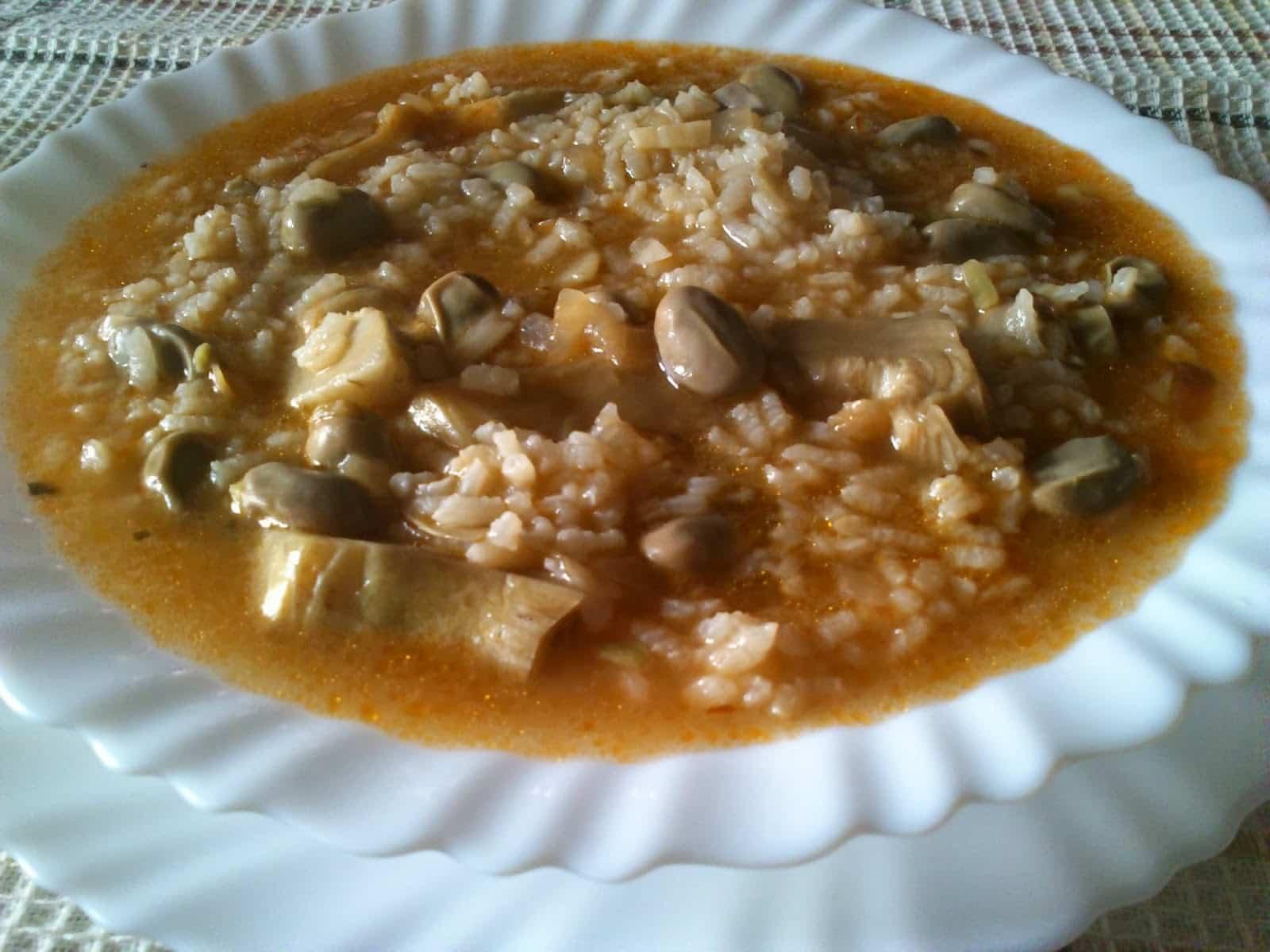 arroz caldoso con habas