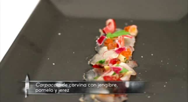receta Carpaccio de corvina con jengibre y pomelo