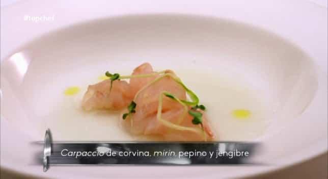 receta Carpaccio de corvina, pepino, mirin y jengibre
