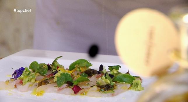 receta Carpaccio de corvina setas escabechadas clorofila albahaca cebollinos y limón