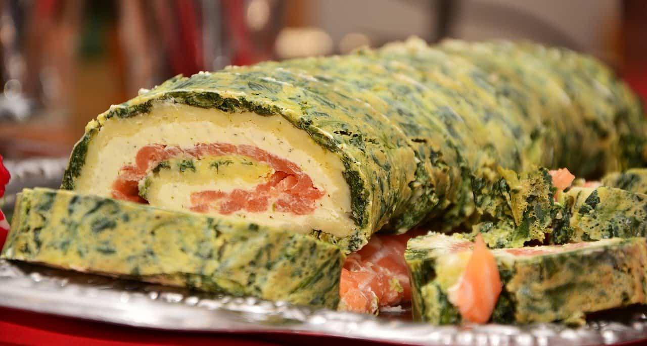 rollo salmon con espinacas
