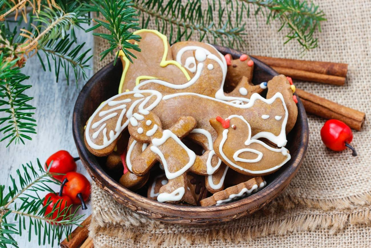 Bowl of gingerbread cookies. Traditional christmas recipe.