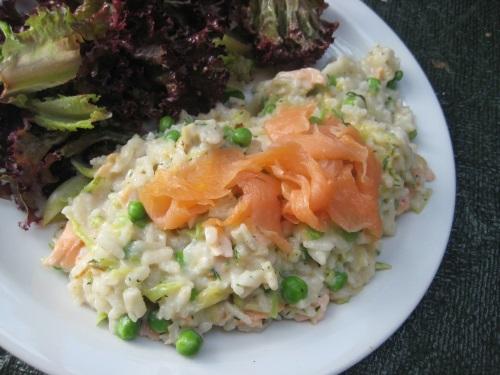 risotto con salmón