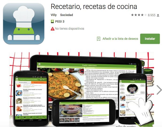 recetario app cocina
