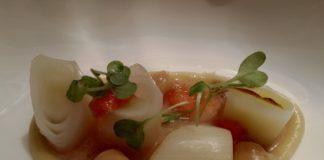 Los puerros del cocido, jugo de jamón y tomate