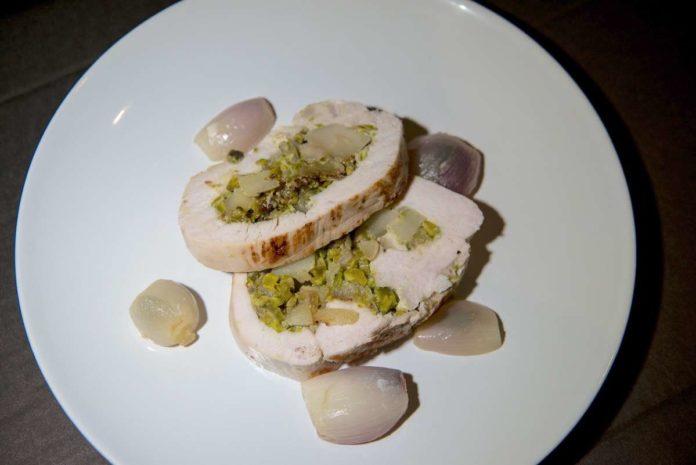 receta de pavo relleno de pistacho y pera