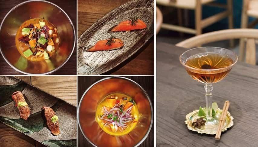 Platos de Nikkei 103. Ceviche nikkei, nigiri de tonyina, nigiri de wagyu con emulsión de salsa pachamanca, ceviche de salmón con leche de tigre de aji amarillo.