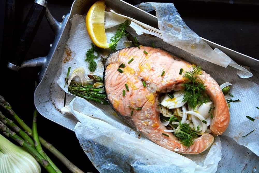 Platos con salmón